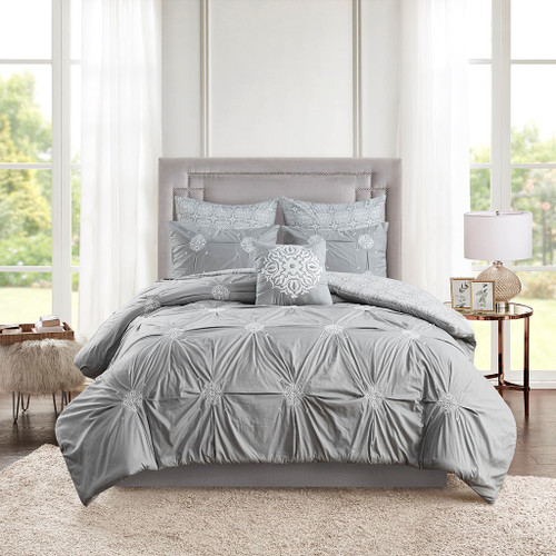 6pc Grey Embroidered Cotton Reversible Comforter Set AND Decorative Pillow (Malia-Grey)