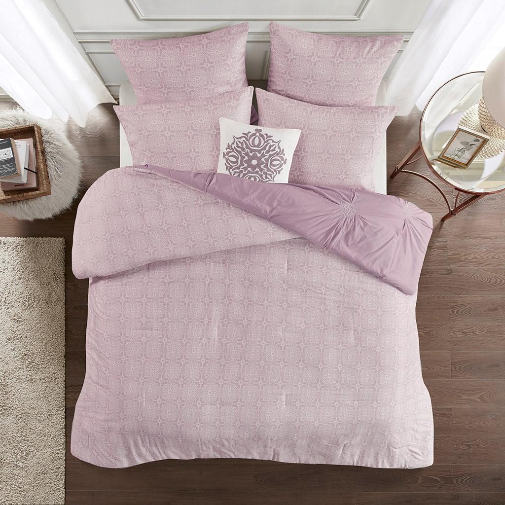 6pc Lavender Purple Embroidered Cotton Reversible Comforter Set AND Decorative Pillow (Malia-Lavender)
