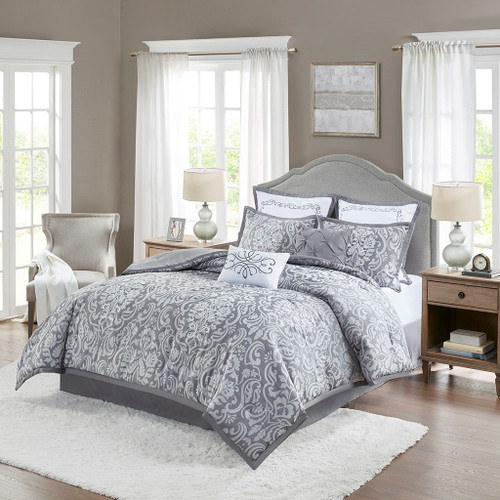 8pc Grey Jacquard Comforter Set AND Decorative Pillows (Flourish-Grey)