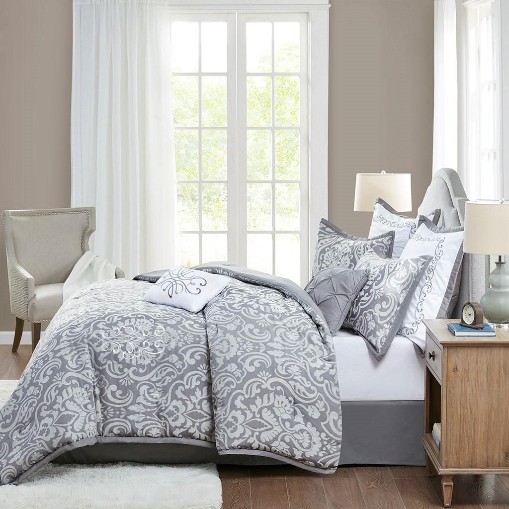8pc Grey Jacquard Comforter Set AND Decorative Pillows (Flourish-Grey)