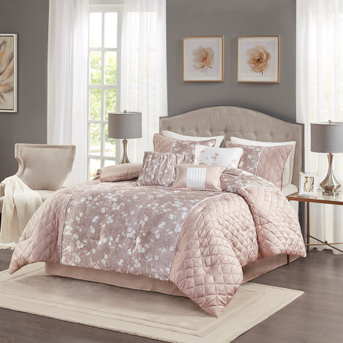 7pc Blush Pink Floral Velvet Comforter Set AND Decorative Pillows (Marling-Blush Pink)