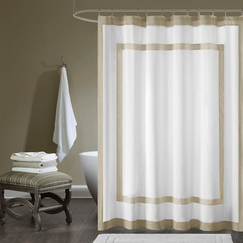 """White & Taupe Border Cotton Fabric Shower Curtain - 72"""" x 72"""" (Greyson-Taupe-Shower)"""