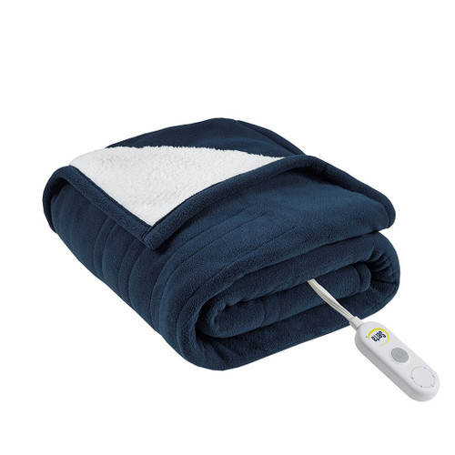 "Navy Blue & White Reversible Ultra Soft Fleece to Sherpa Heated Throw - 50x60"" (Fleece to Sherpa-Blue-Throw)"