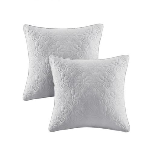 Quebec Grey Quilted Square Pillow Pair (Quebec Grey-Quilted Square Pillow Pair)