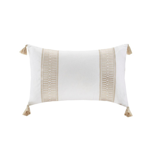 Anslee Embroidered Cotton Oblong Taupe Decorative Pillow (Anslee Embroidered Cotton Oblong Taupe-Decorative Pillow)