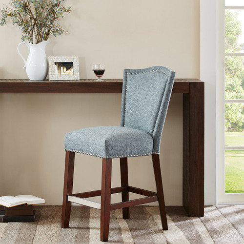 Blue Multi Color Counter Stool with Silver Nail Head Detailing (Nate Blue Multi-Counter Stool)