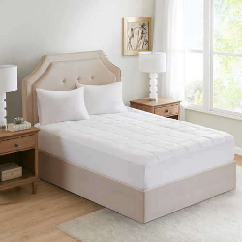 White Cotton 300TC Mattress Pad Antimicrobial With Odor Eliminator - QUEEN (086569046093)