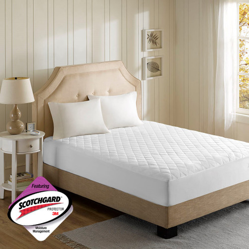 White Heated Microfiber Quilted Mattress Pad w/3M Scotchgard (Heated Microfiber-White-Pad)