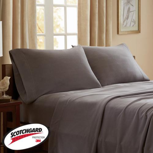 Grey Micro Fleece Sheet Set w/3M Scotchgard - TWIN (675716558468)