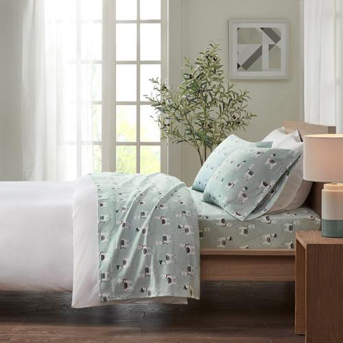 Seafoam Llama Print 100% Soft Cotton Flannel Sheet Set - TWIN XL (086569222626)