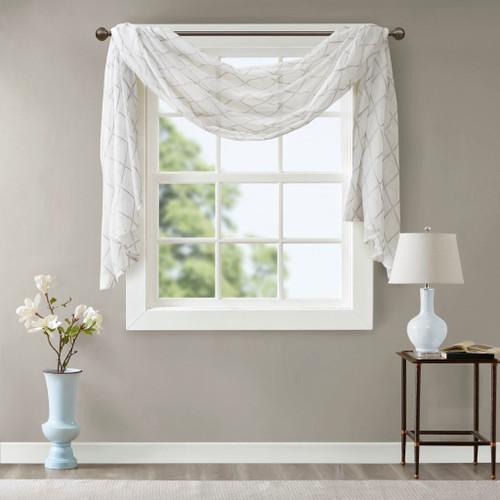 "White & Grey Diamond Sheer Embroidered Window Scarf - 50x144"" (086569904881)"