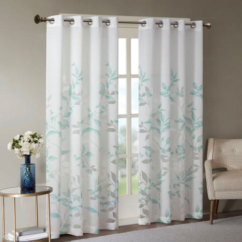 Aqua Blue & White Floral Botanical Grommet Top Curtain Panel (Cecily-Aqua-Panel)