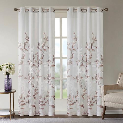 """Mauve & White Floral Botanical Grommet Top Curtain Panel - 84"""" (Cecily-Mauve-Panel)"""