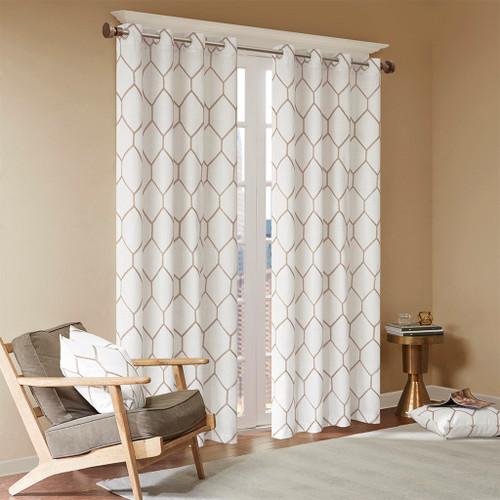Taupe Metallic Geometric Embroidered Window Curtain Panel (Brooklyn-Taupe-Panel)