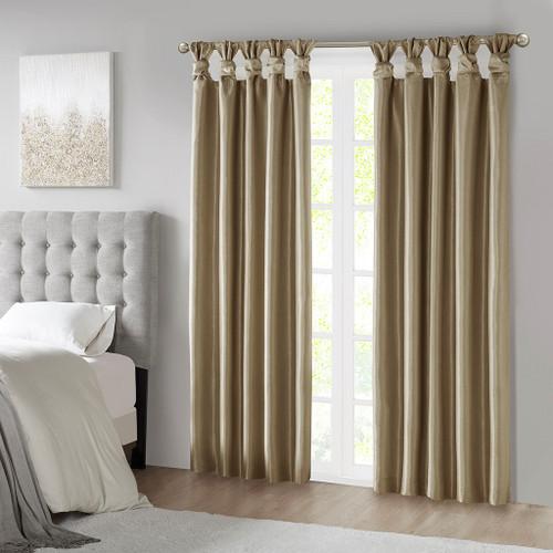 Bronze Faux Silk DIY Twisted Tab Top Blackout Window Curtain Panel (Emilia-Bronze-Panel)
