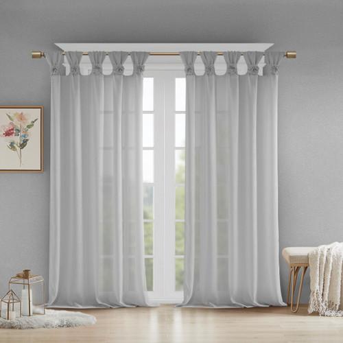 Grey Feminine & Floral Cuff Tab Top Sheer Window Curtain Panel (Rosette-Grey-Panel)