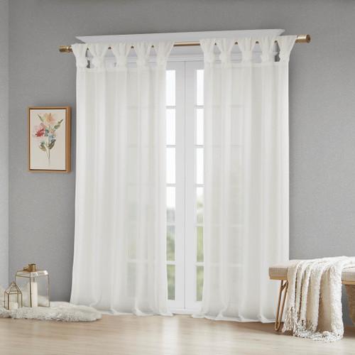 White Feminine & Floral Cuff Tab Top Sheer Window Curtain Panel (Rosette-White-Panel)