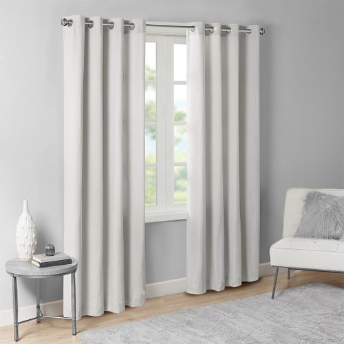 Soft Grey Solid Grommet Top Window Curtain Panel (Englewood-Grey-Panel)