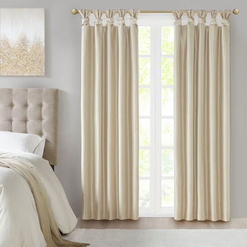 Champagne Faux Silk DIY Twisted Tab Top Blackout Window Curtain Panel (Emilia-Champagne-Panel)