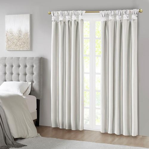 White Faux Silk DIY Twisted Tab Top Blackout Window Curtain Panel (Emilia-White-Panel)