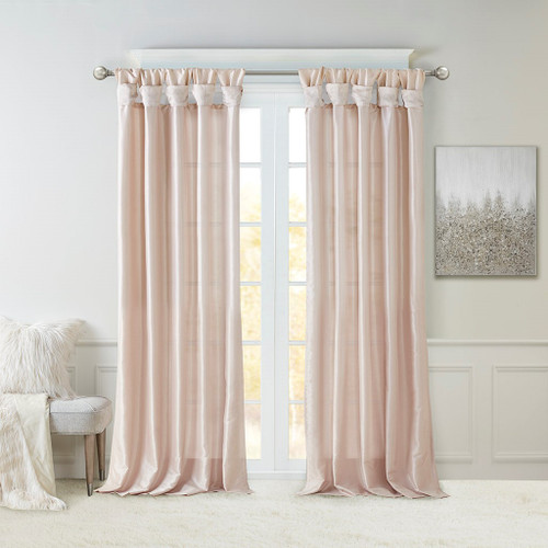 Blush Pink Faux Silk DIY Twisted Tab Top Window Curtain Panel (Emilia-Blush-Curtain)