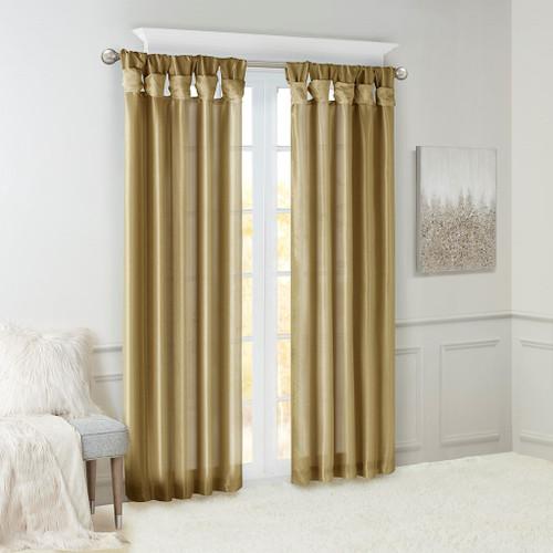 Bronze Faux Silk DIY Twisted Tab Top Window Curtain Panel (Emilia-Bronze-Curtain)