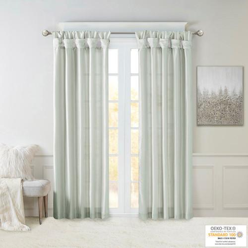 Dusty Aqua Faux Silk DIY Twisted Tab Top Window Curtain Panel (Emilia-Dusty Aqua-Curtain)