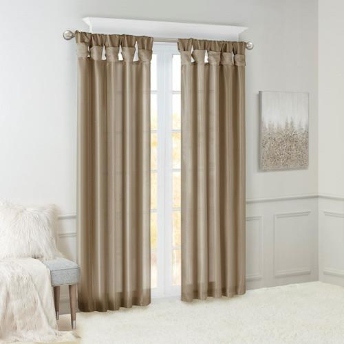 Pewter Faux Silk DIY Twisted Tab Top Window Curtain Panel (Emilia-Pewter-Curtain)