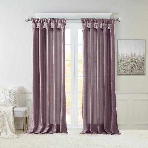 Jewel Purple Faux Silk DIY Twisted Tab Top Window Curtain Panel (Emilia-Purple-Curtain)