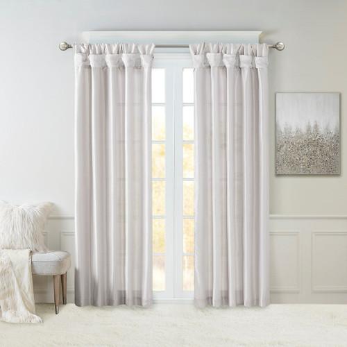 Silver Faux Silk DIY Twisted Tab Top Window Curtain Panel (Emilia-Silver-Curtain)