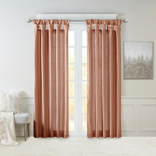 Spice Faux Silk DIY Twisted Tab Top Window Curtain Panel (Emilia-Spice-Curtain)