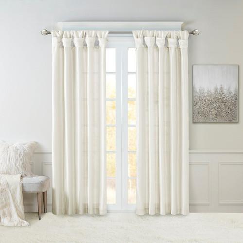White Faux Silk DIY Twisted Tab Top Window Curtain Panel (Emilia-White-Curtain)