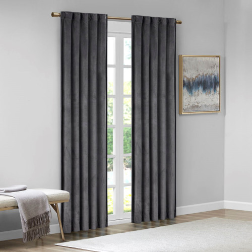 Set of 2 Charcoal Grey Soft Velvet BLACKOUT Window Panels - Room Darkening (Colt-Charcoal-window)