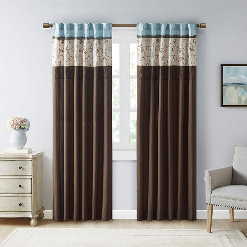 """Blue & Brown Embroidered Floral Window Curtain Panel - 84"""" (Serene-Blue-Panel)"""