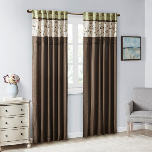 """Green & Brown Embroidered Floral Window Curtain Panel - 84"""" (Serene-Green-Panel)"""