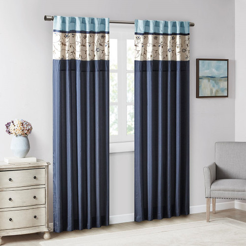 """Navy Blue & Ivory Embroidered Floral Window Curtain Panel - 84"""" (Serene-Navy Blue-Panel)"""