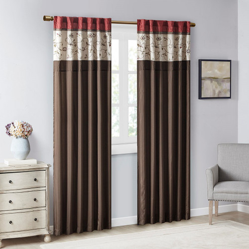 """Deep Red & Brown Embroidered Floral Window Curtain Panel - 84"""" (Serene-Red-Panel)"""
