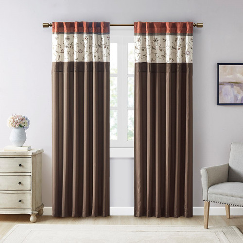 """Spice & Brown Embroidered Floral Window Curtain Panel - 84"""" (Serene-Spice-Panel)"""