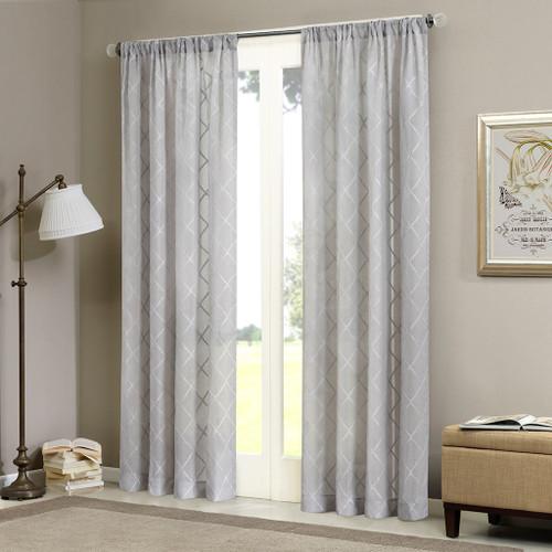 Grey Diamond Sheer Embroidered Rod Pocket Window Curtain Panel (Irina-Grey-Panel)