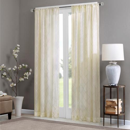 Ivory Diamond Sheer Embroidered Rod Pocket Window Curtain Panel (Irina-Ivory-Panel)
