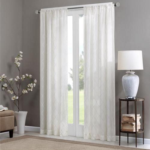 White Diamond Sheer Embroidered Rod Pocket Window Curtain Panel (Irina-White-Panel)