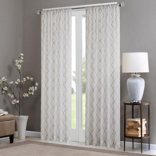 White & Grey Diamond Sheer Embroidered Rod Pocket Window Curtain Panel (Irina-White/Grey-Panel)