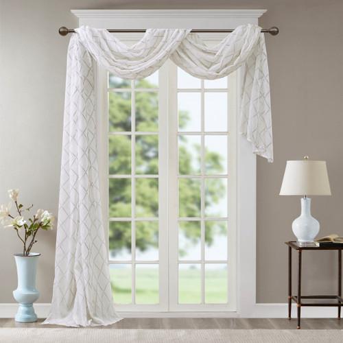 "White & Grey Diamond Sheer Embroidered Window Scarf - 50x216"" (Irina-White/Grey-216 Scarf)"