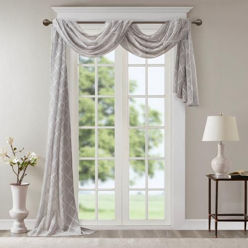 "Extra Long Grey Diamond Sheer Embroidered Window Scarf - 50x216"" (Irina-Grey-216 Scarf)"