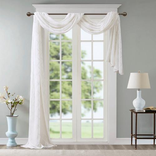"Extra Long White Diamond Sheer Embroidered Window Scarf - 50x216"" (Irina-White-216 Scarf)"