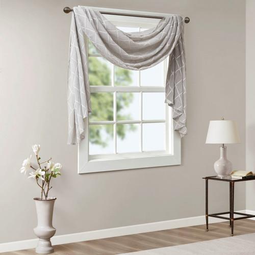 "Grey Diamond Sheer Embroidered Window Scarf - 50x144"" (Irina-Grey-144 Scarf)"