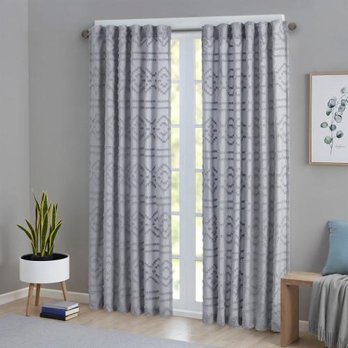 "Grey Solid Clipped Jacquard Seersucker Window Curtain Panel - 84"" (Annie-Grey-Curtain)"