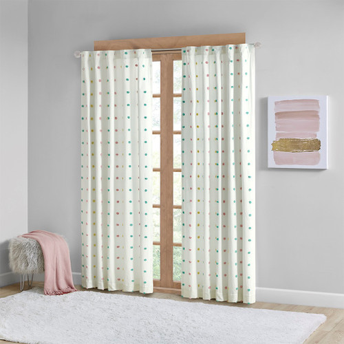 "Multi-Color Pom Pom Cotton Jacquard Window Curtain Panel - 84"" (Callie-Multi-Panel)"