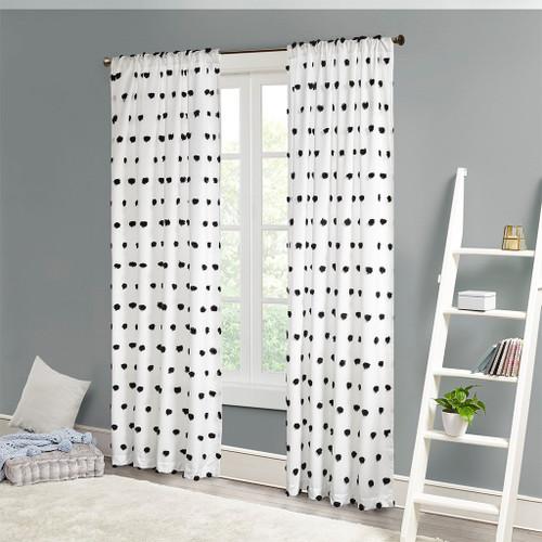 White w/Black Pom Poms Embellished Window Curtain Panel (Sophie-Black-Panel)