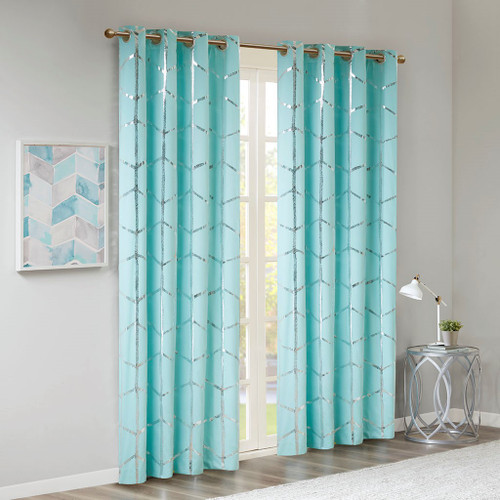 "Aqua Blue Geometric Metallic Silver BLACKOUT Window Panel- 50x63"" (Raina-Aqua63-window)"